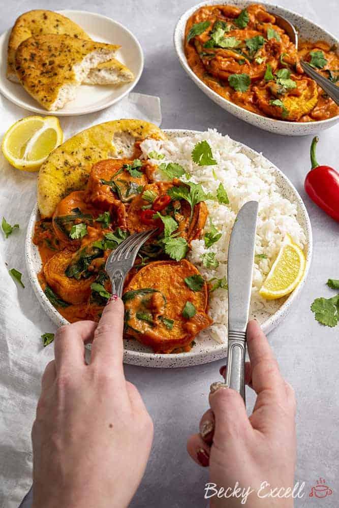 Vegan Masala Curry Recipe with Sweet Potato (dairy free, low FODMAP option)