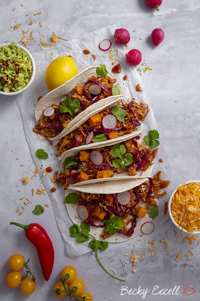 Vegan Pulled Jackfruit Tacos Recipe (gluten free, low FODMAP, dairy free)