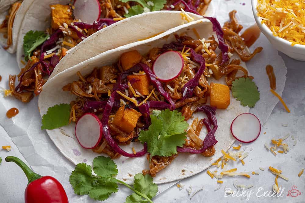 Vegan Pulled Jackfruit Tacos Recipe (gluten free, low FODMAP, dairy free)