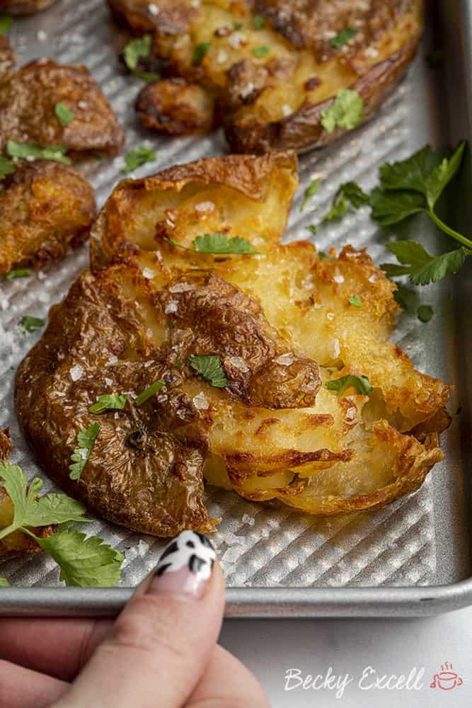 Crispy Smashed Potatoes Recipe (vegan, dairy free, low FODMAP)