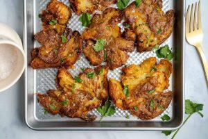 3-Ingredient Crispy Smashed Potatoes Recipe (vegan, dairy free, low FODMAP)
