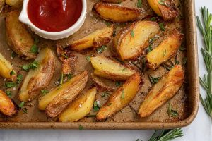 Super Crispy Baked Potato Wedges Recipe – BEST EVER! (vegan, low FODMAP)