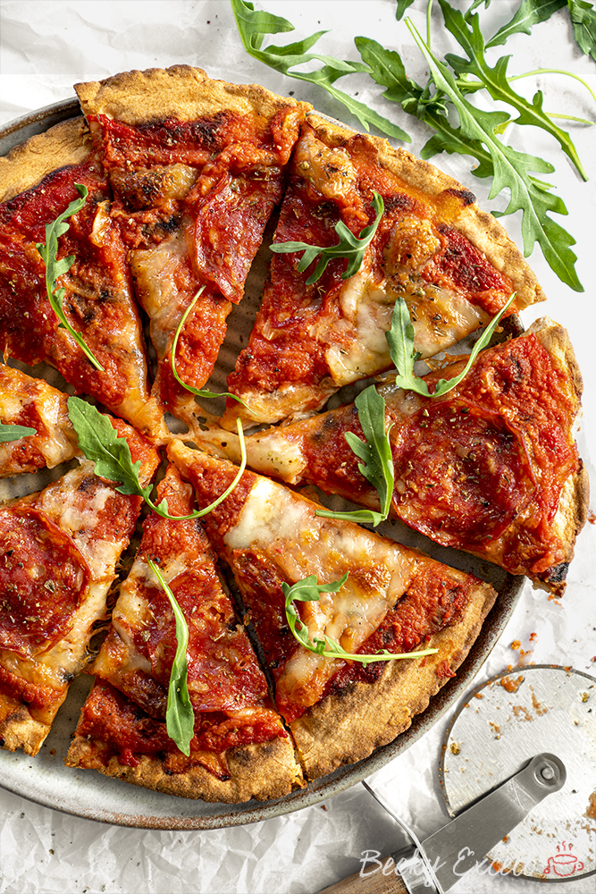 Gluten Free Pizza Base Recipe in a pizza oven