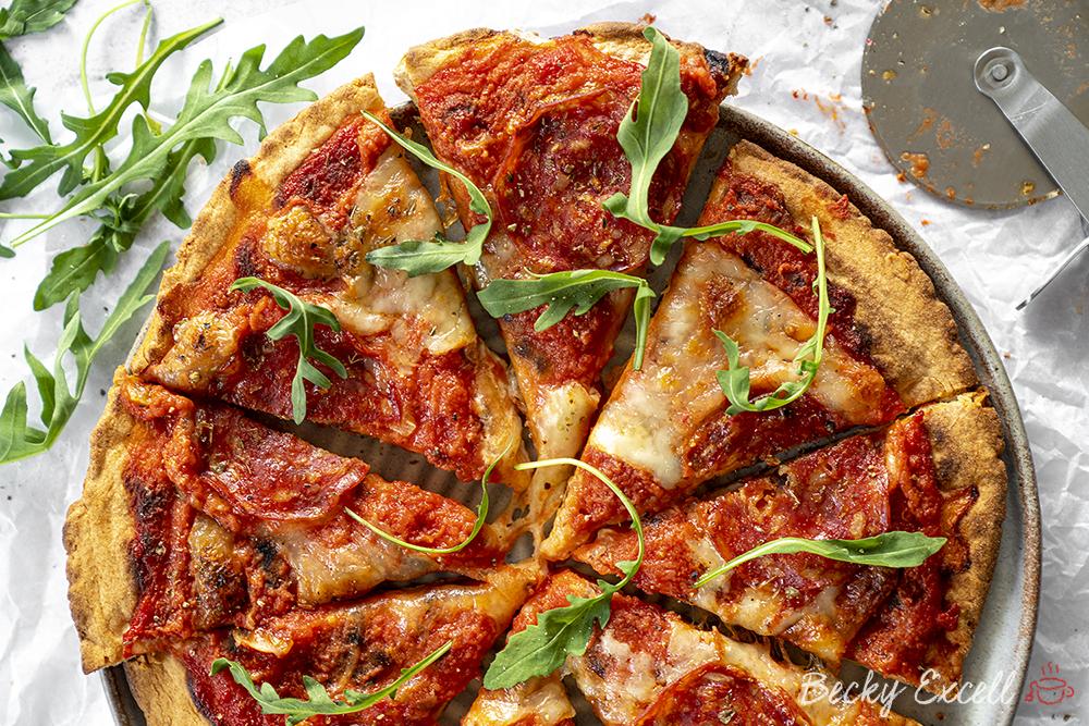 Gluten Free Pizza Base Recipe with 3-Ingredients (vegan, dairy free, low FODMAP)