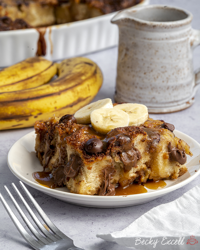 Gluten Free Chocolate Chip Banana Bread Pudding Recipe (dairy free option)