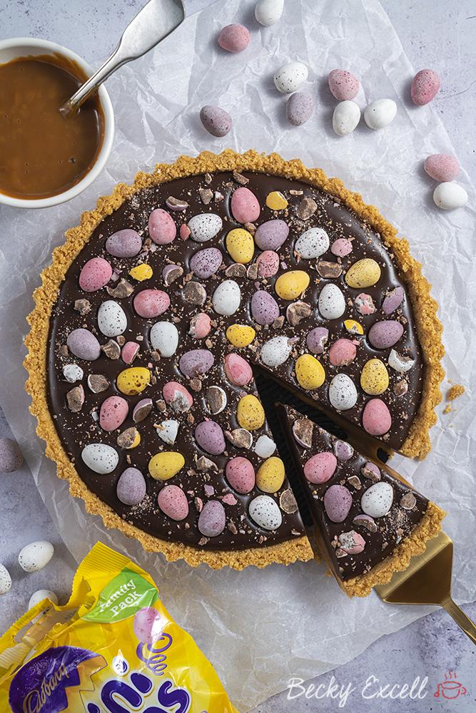 Gluten Free Mini Egg Chocolate and Caramel Tart Recipe (No-Bake)