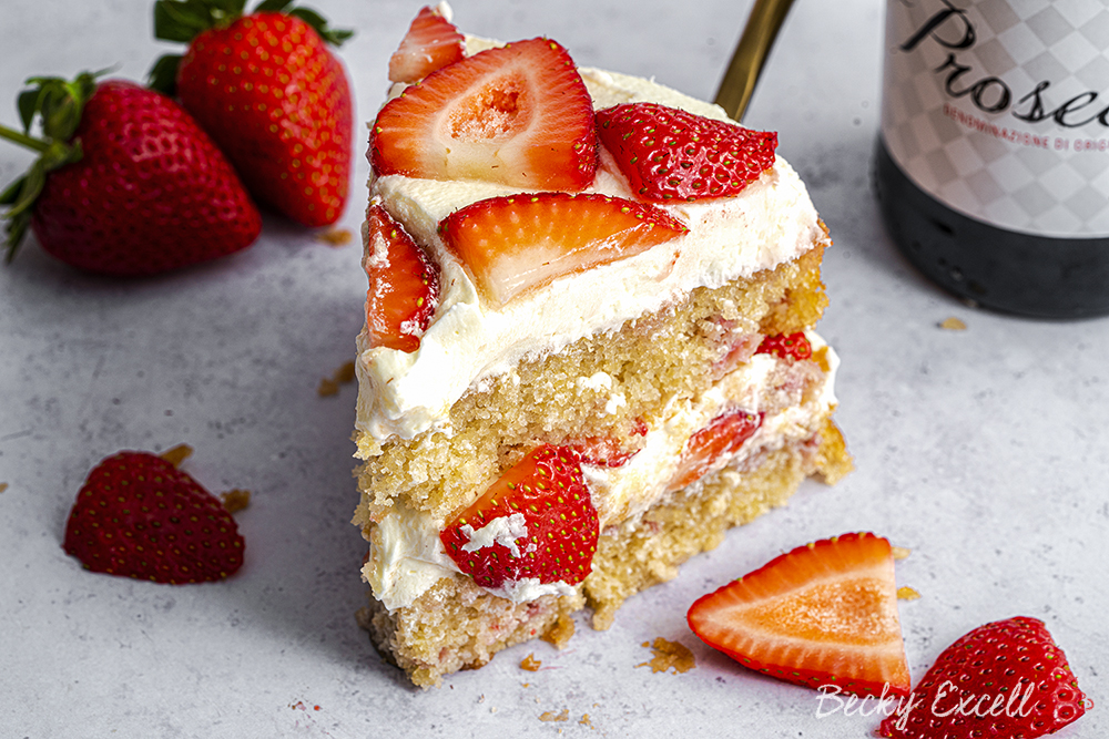 Gluten Free Prosecco and Strawberry Cake Recipe (dairy free)