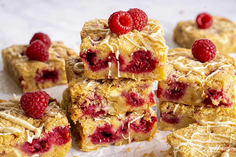 One-Bowl Gluten-free White Chocolate and Raspberry Blondies Recipe (low FODMAP/dairy-free/vegan option)