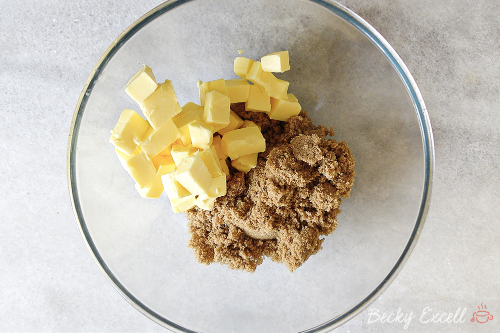 Cream together the butter and light brown sugar