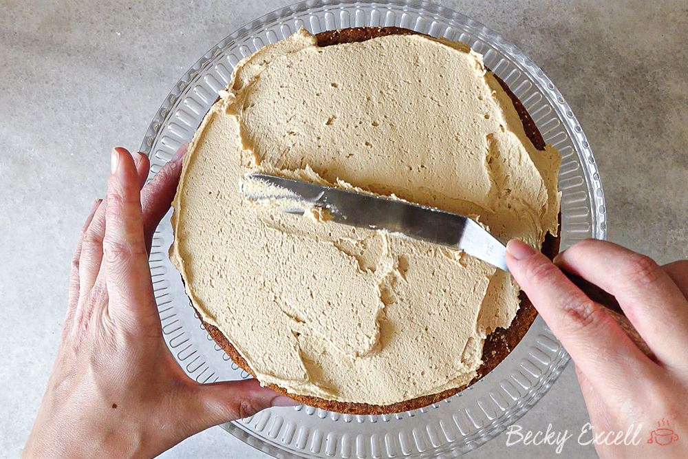 Spread your buttercream on top of one sponge, then place the other on top