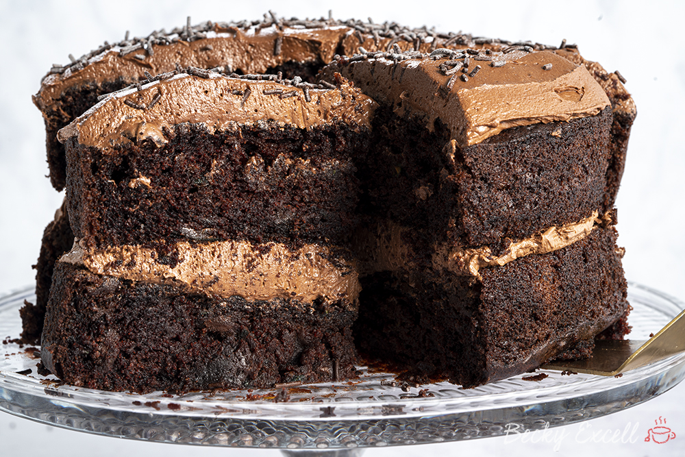 Gluten-free Courgette Chocolate Cake Recipe (low FODMAP/dairy-free/vegan option)