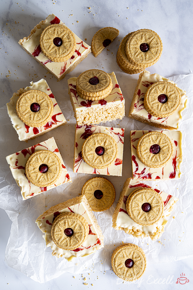 Gluten-free Jammy Dodger Rice Crispy Squares Recipe (low FODMAP/dairy-free/vegan option)