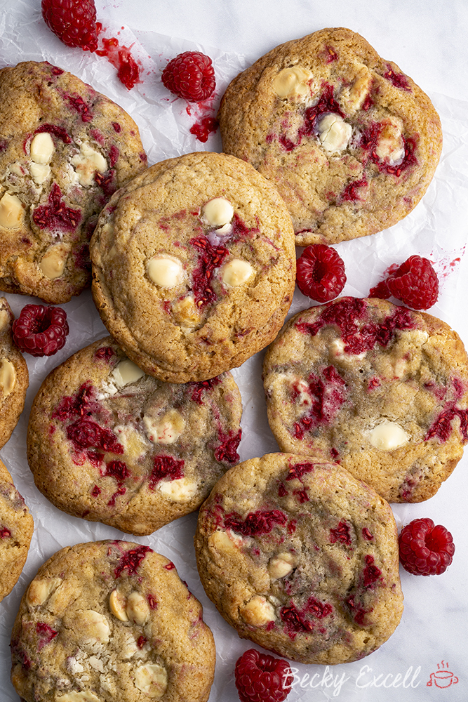 Gluten Free White Chocolate and Raspberry Cookies Recipe (low FODMAP/dairy-free/vegan option)
