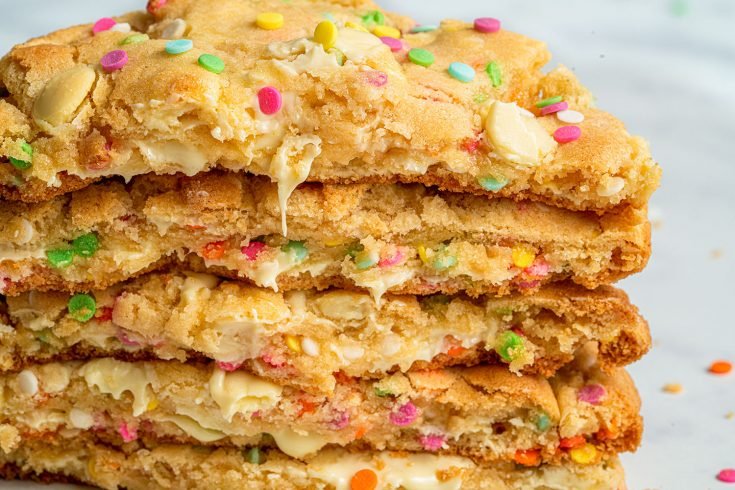 Gluten-free White Choc Chip Funfetti Cookies Recipe (low FODMAP/dairy-free/vegan option)