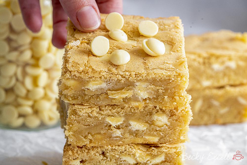 One-Bowl Gluten-free Blondies Recipe (low FODMAP/dairy-free/vegan option)