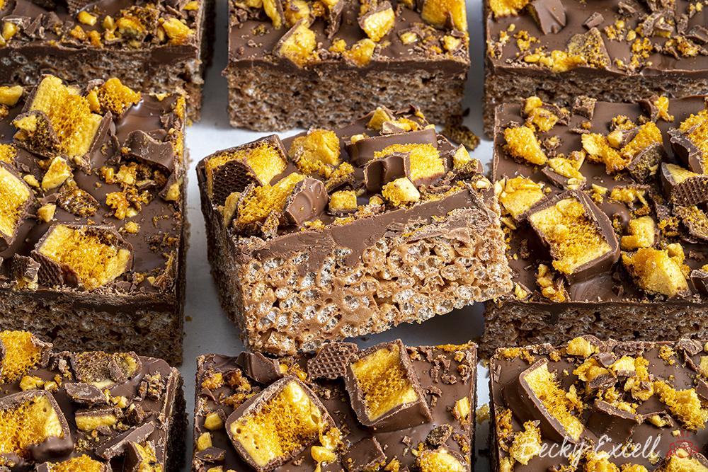 Gluten-free Crunchie Rice Crispy Squares Recipe - No-bake (dairy-free option)