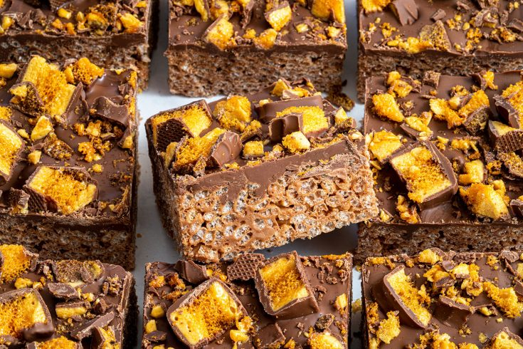 Gluten-free Crunchie Rice Crispy Squares Recipe - No-bake