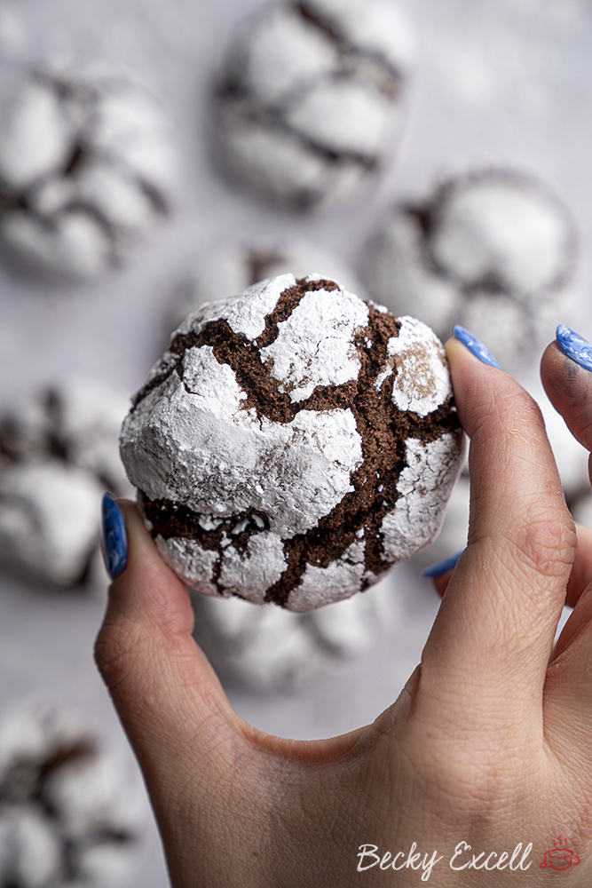 Gluten-free Chocolate Crinkle Cookies Recipe - Snow cookies! (dairy-free)