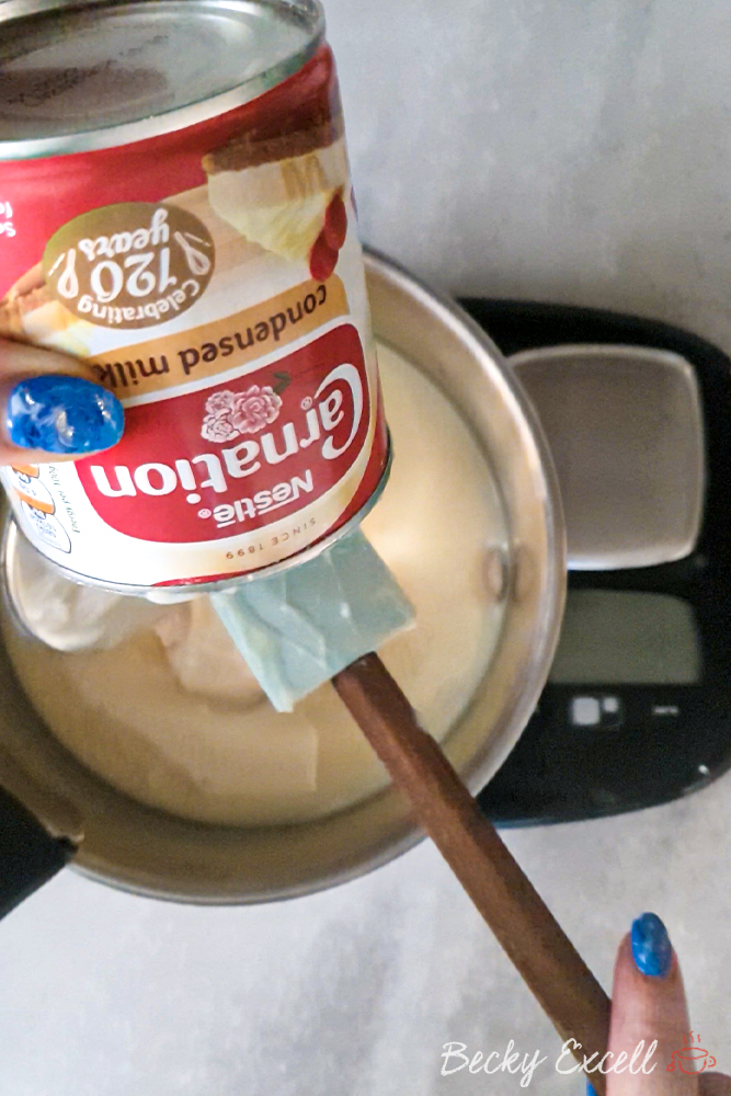 Add in one whole tin (397g) of condensed milk