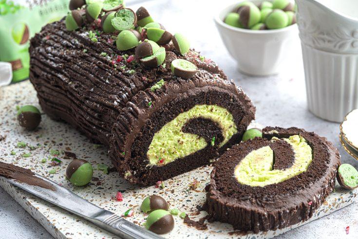 Gluten-free Mint Chocolate Yule Log Recipe (dairy-free option)