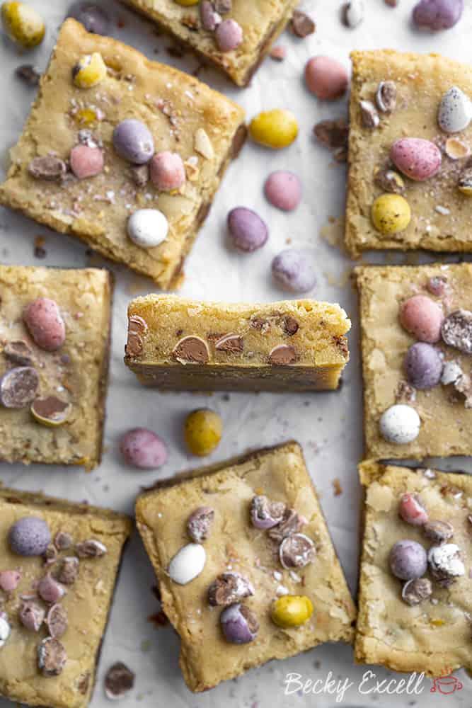 Mini Egg Blondies Recipe - EASY Easter baking! (gluten-free)