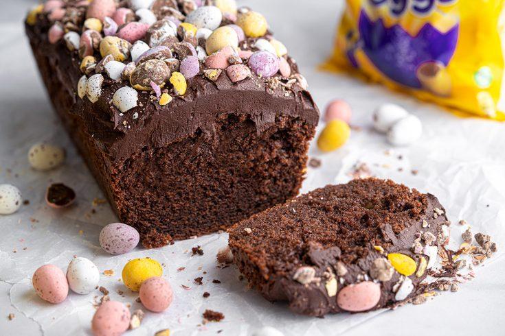 Gluten-free Mini Egg Chocolate Loaf Cake Recipe - Easter baking!