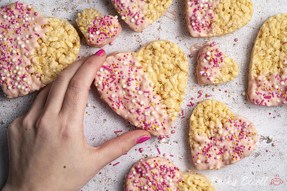 Valentine's Rice Crispy Hearts Recipe - No-bake (gluten-free + dairy-free option)