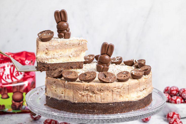 Gluten-free Easter KitKat Marble Cheesecake Recipe - No-Bake (dairy-free/vegan option)