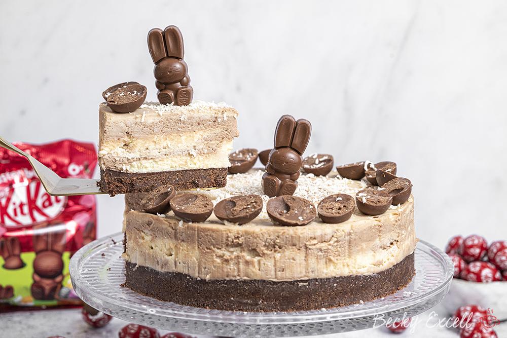 Gluten-free Easter KitKat Marble Cheesecake Recipe - No-Bake (dairy-free option)