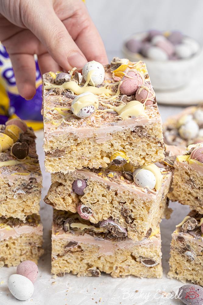Mini Eggs Rice Crispy Squares Recipe - Easter baking!