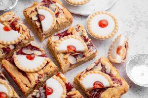 Cherry Bakewell Blondies Recipe (gluten-free + dairy-free option)